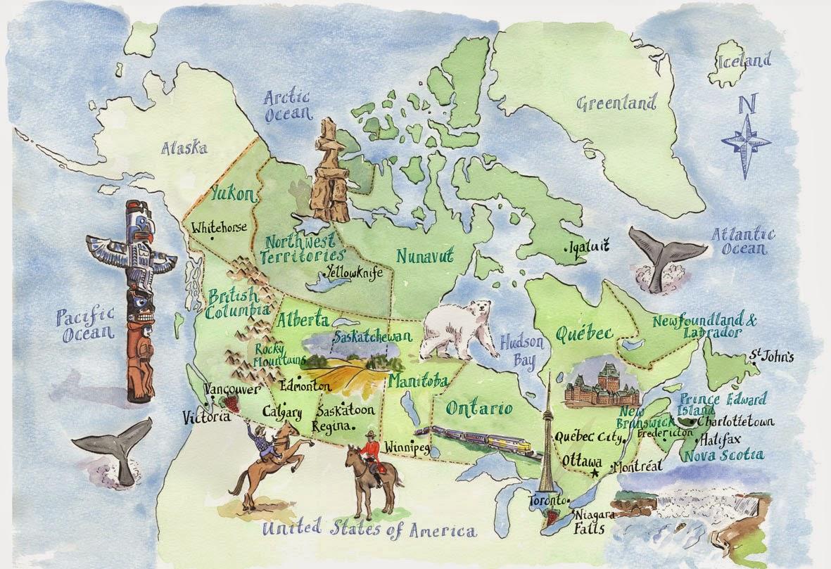 туристическая карта Канады