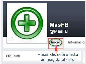 Enlace a inicio en pagina Facebook - MasFB
