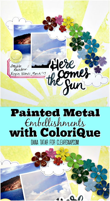 Painted Metal Embellishments with ColoriQue by Dana Tatar for Clearsnap
