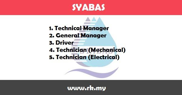 Jawatan Kosong di Syarikat Bekalan Air Selangor Sdn Bhd  (SYABAS)