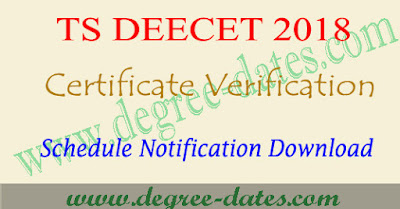 TS Deecet 2018 certificate verification dates dietcet ttc telangana