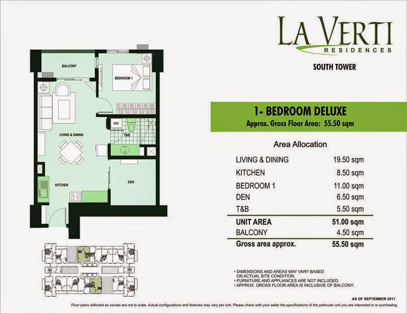 La Verti Residences 1-Bedroom Deluxe Unit 55.50 sqm