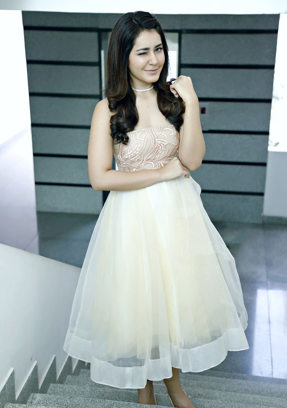Rashi Khanna Long Hair Photo Shoot In  White Mini Skirt