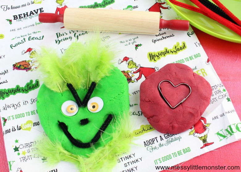 Christmas Grinch activities - Christmas playdough