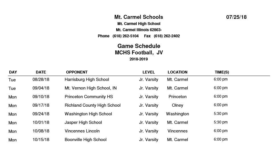Mt  Carmel High School: Fall Sports Schedules