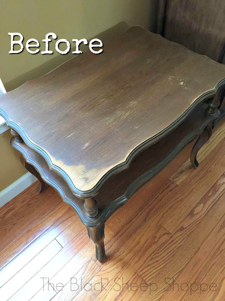 This thrift store end table had wear and tear to the original finish.