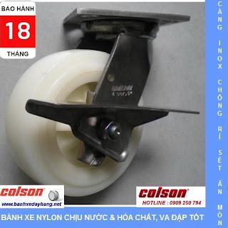Bánh xe Nylon PA trắng càng inox 304 Colson Mỹ tại Bạc Liêu www.banhxedayhang.net