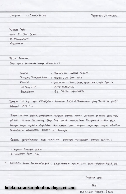 Surat Lamaran Kerja Tulis Tangan Info Kerja