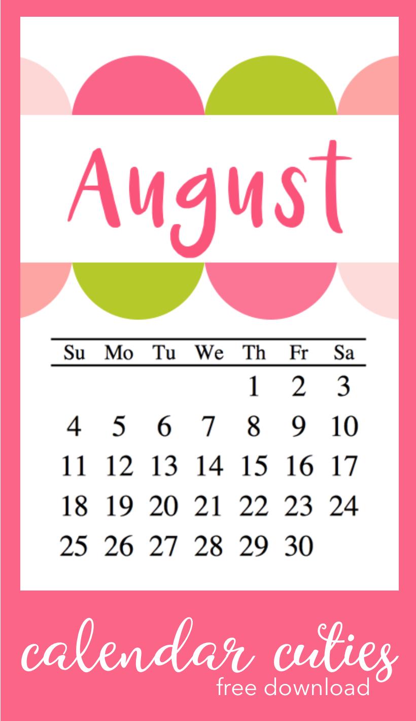 #calendar #august #august calendar #freebie #printable #iloveitall