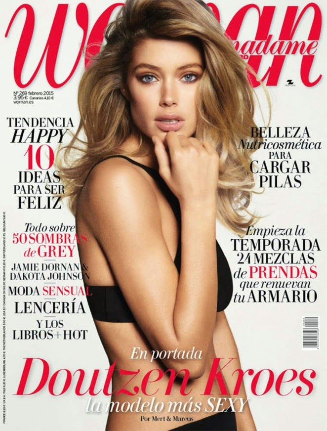 Doutzen Kroes poses in black lingerie for the Madame Figaro February 2015 Cover