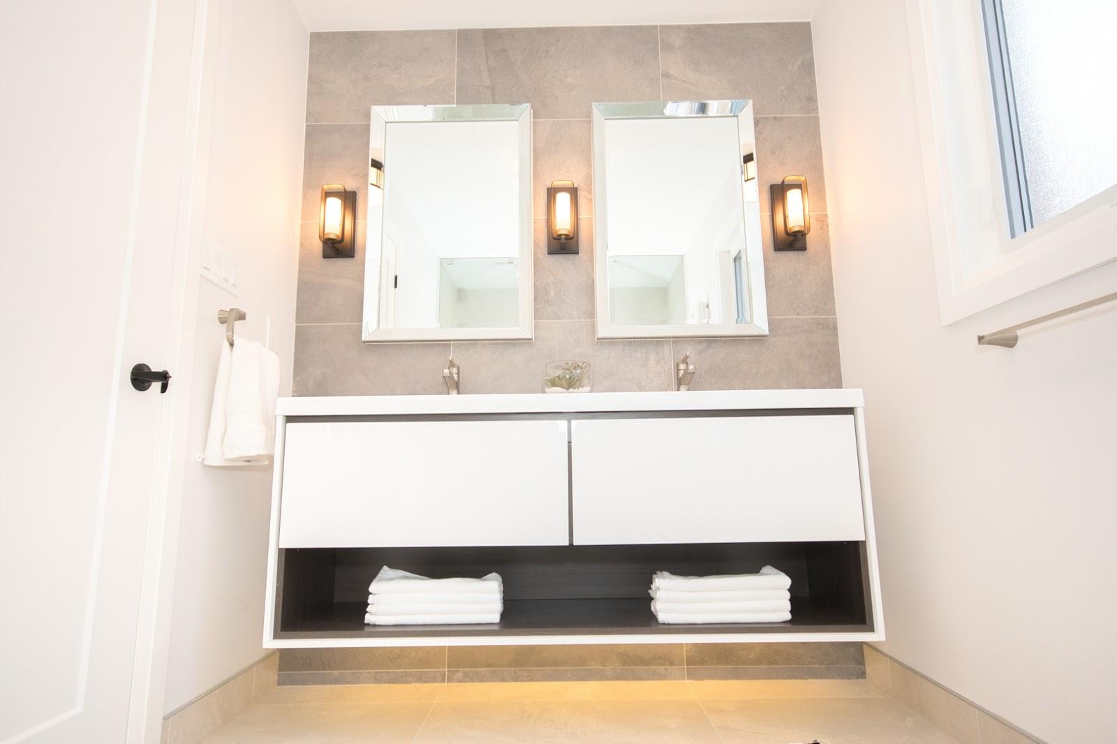 vanity in washroom