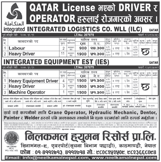 Jobs in Qatar for Nepali, Salary Rs 51,300