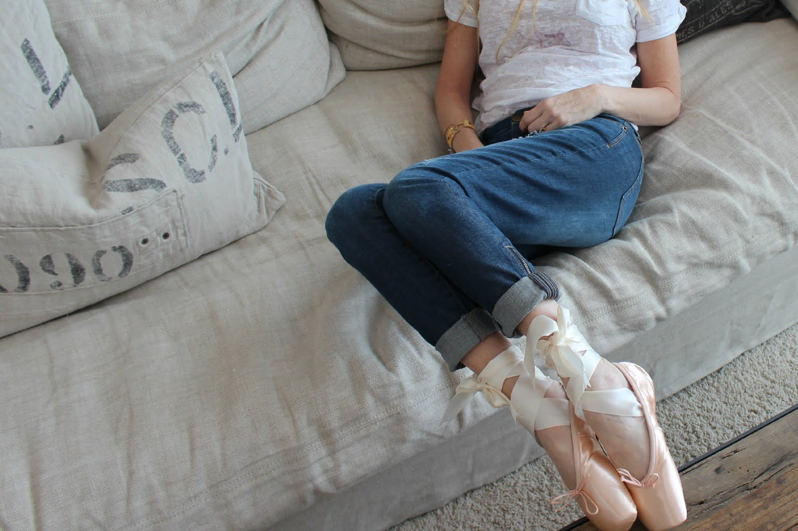 Michele of Hello Lovely Studio in pointe shoes ballet slippers