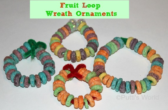 Christmas Kids Craft- Fruit Loop Wreath Ornaments