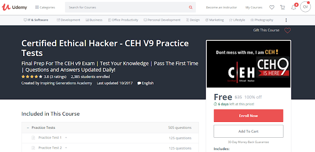 Certified Ethical Hacker - CEH V9 Practice Tests