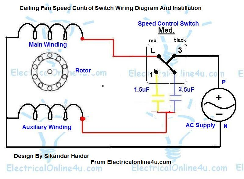 speed control switch wiring for ceiling fan with diagram download  ceiling fan speed control switch wiring diagram electrical online 4u rh electricalonline4u com ceiling fan wiring diagram schematic ceiling fans with lights