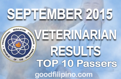 TOP Passers: Veterinarian Board Exam Results - List of Passers (September 2015)