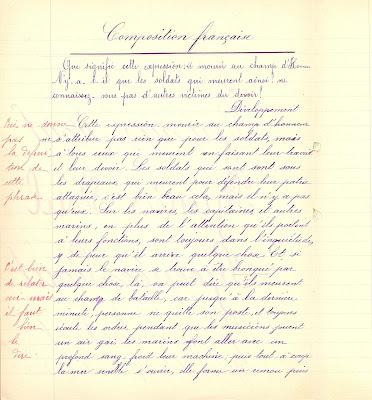 Rédaction, cahier de devoirs journaliers, 1912, on notera l'allusion appuyée au naufrage du Titanic (collection musée)