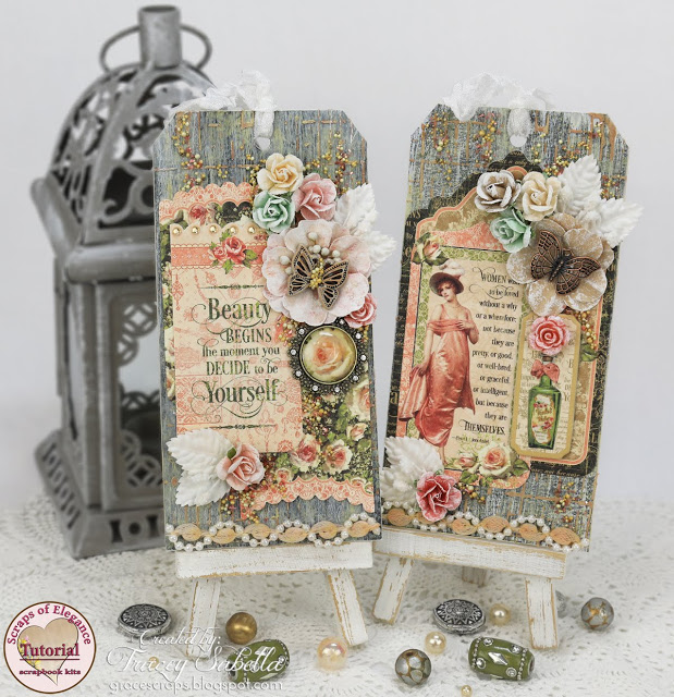 Scraps of Elegance scrapbook kits mixed media tutorial: Graphic 45 Portrait of a Lady Tags created w/our March 2017 kit, by Tracey Sabella