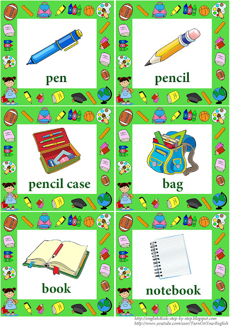 school vocabulary flashcards with words