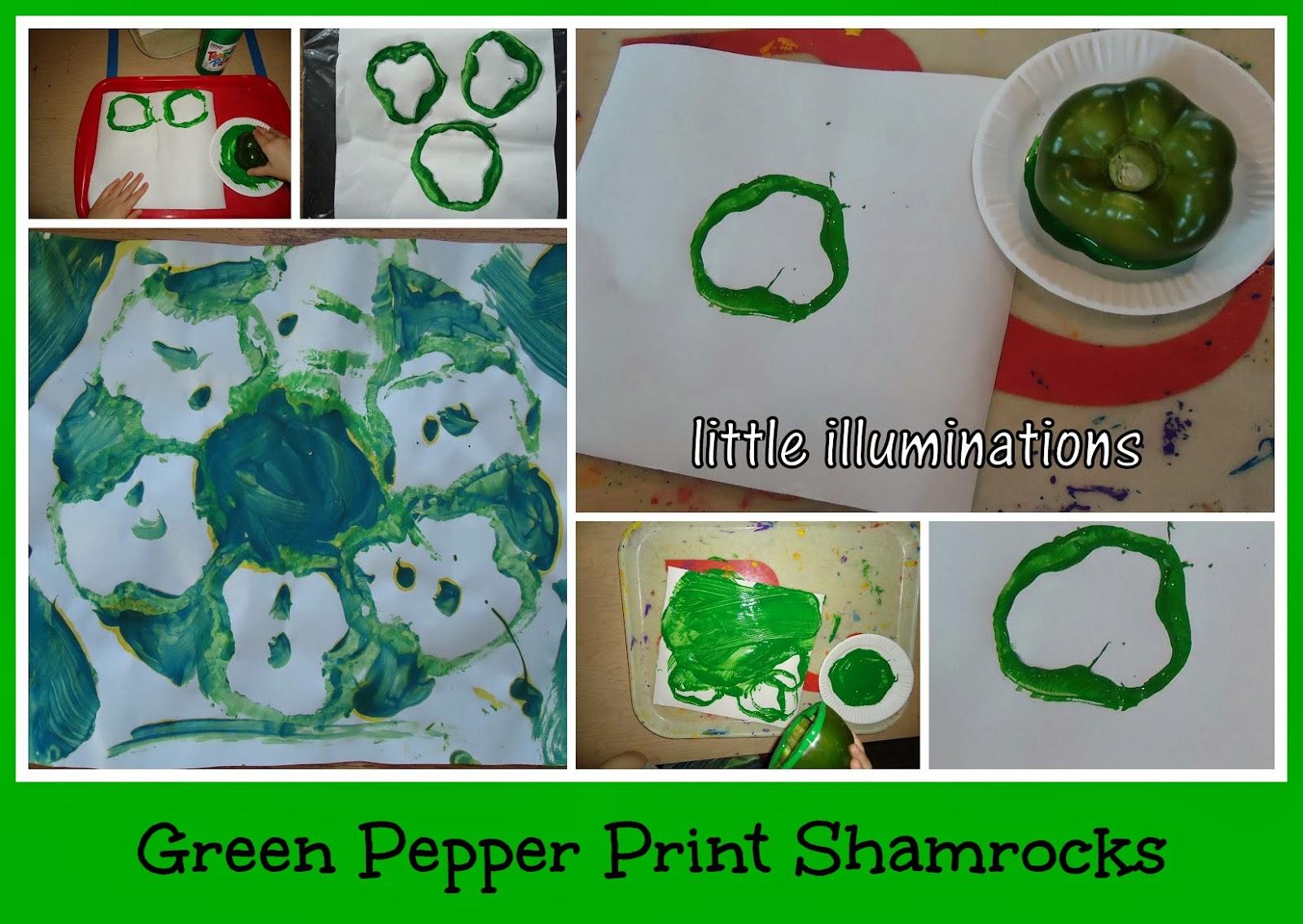 little illuminations: Green Pepper Print Shamrocks