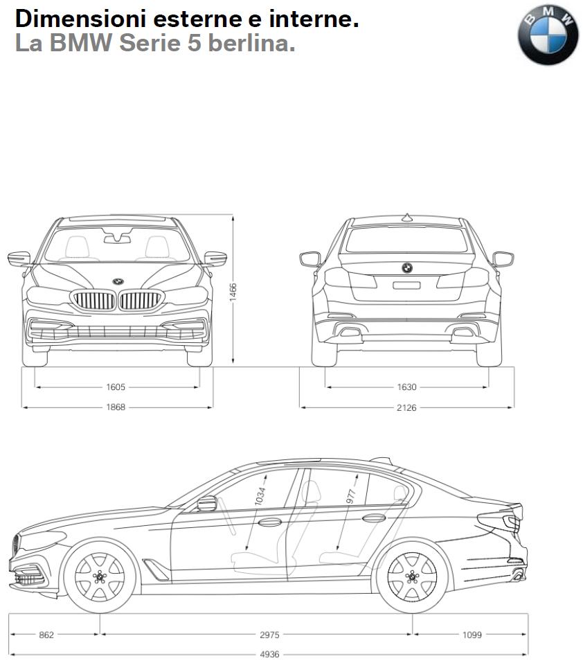 BMW Serie 5 2017 Dimensioni e Misure bagagliaio