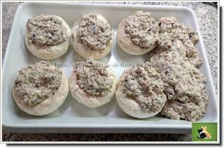 Vie quotidienne de FLaure : Champignons farcis au jambon, poivron et olives