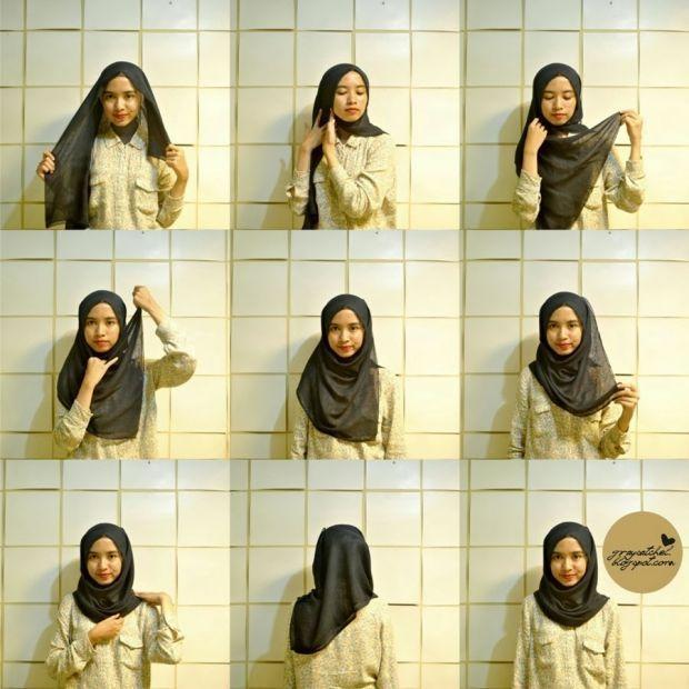 Panduan Cara memakai jilbab paris simpel