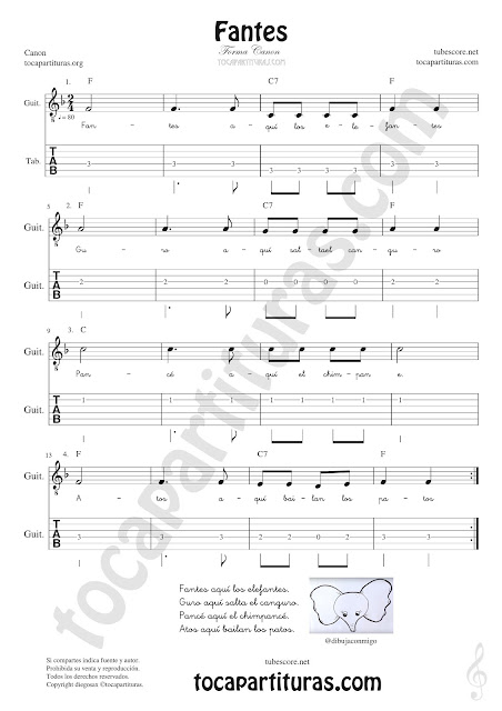 Guitarra Tablatura y Partitura de Fantes Punteo Tablature Sheet Music for Guitar Tabs Music Scores