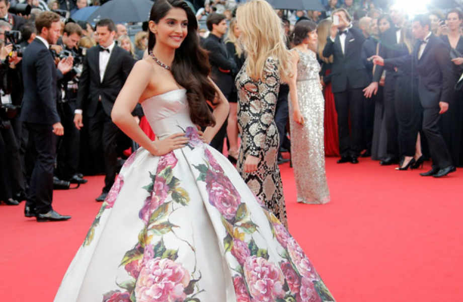 Sonam Kapoor for the Fashionistas in Dolce & Gabbana floral strapless printed dress