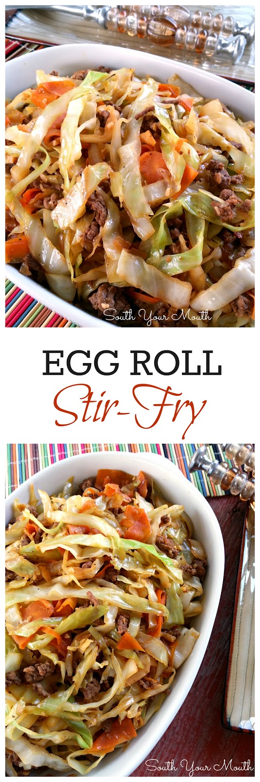 Egg Roll Stir-Fry: all the flavor of an egg roll without the wrapper! Like an unstuffed egg roll in a bowl. So delicious! #eggroll #stirfry