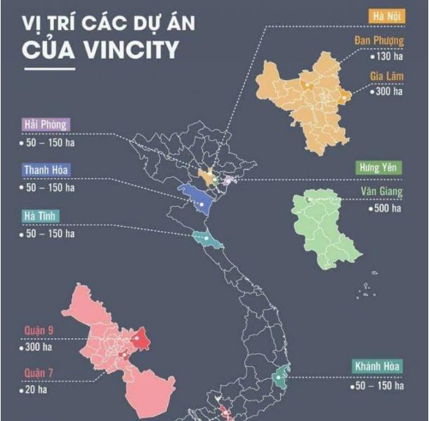 vị trí các dự án VinCity
