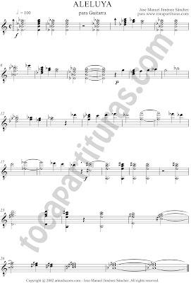 Aleluya de José Manuel Jiménez Partitura composición para Guitarra