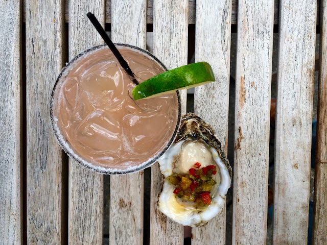 The Fresh Grapefruit Margarita and Cucumber Mignonette at Jolie Pearl Oyster Bar