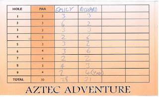 Minigolf scorecard from Adventure Island Adventure Golf in Southend-on-Sea