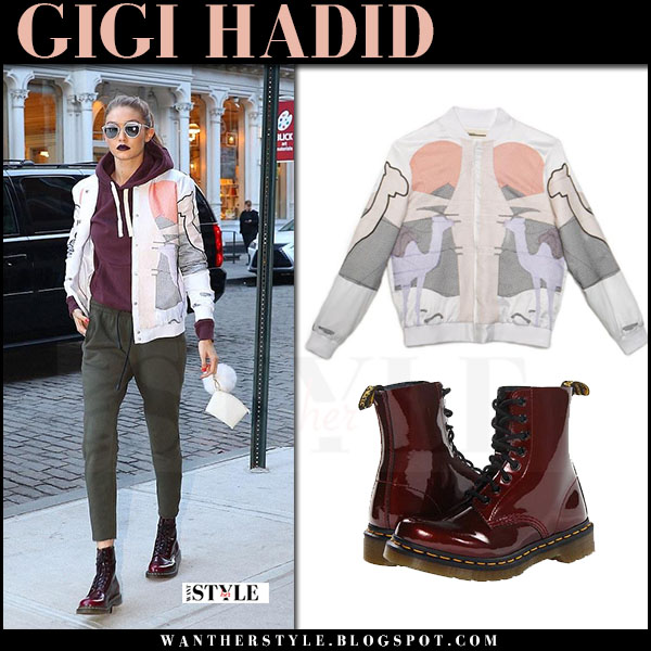 Gigi Hadid in white printed bomber jacket and burgundy patent ankle boots dr martens what she wore march 2017