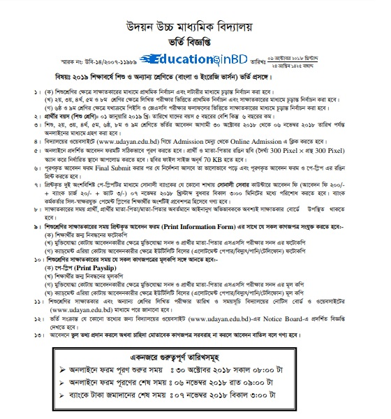 Dhaka Udayan High School Admission Notice Result 2019