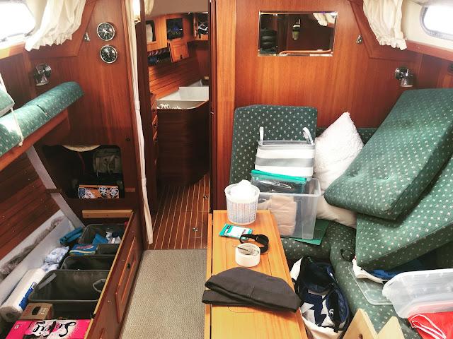 Hallberg-Rassy 37, unpacking, moving aboard