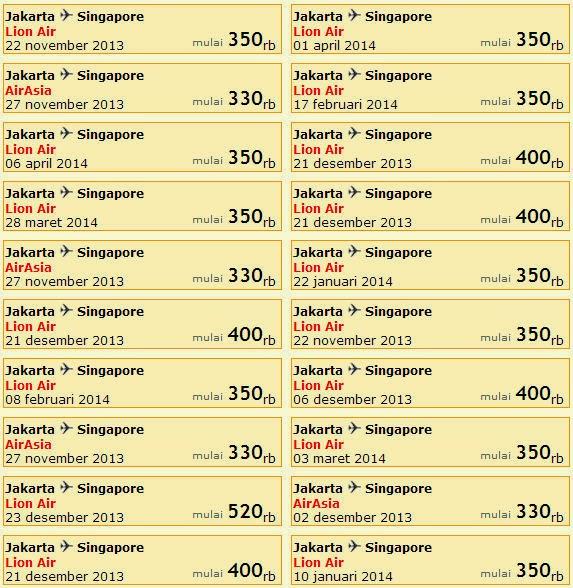 Daftar Harga Tiket Pesawat Lion Air Tujuan Singapura Tri