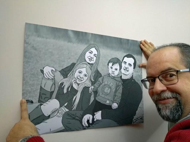 Sua família numa arte do Desenhista Marcelo Lopes de Lopes