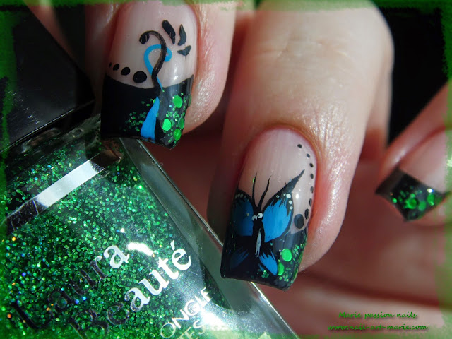 nail art french et papillon4