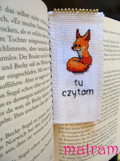 cross stitch bookmark fox
