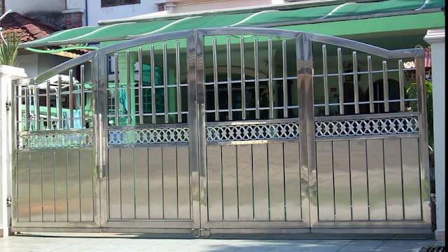 cổng inox 4 cánh đẹp - mẫu 1