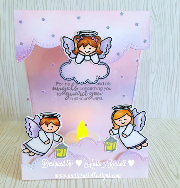Sunny Studio Stamps: Little Angels & Angelic Sentiments Card with Tealight by Maria Russell