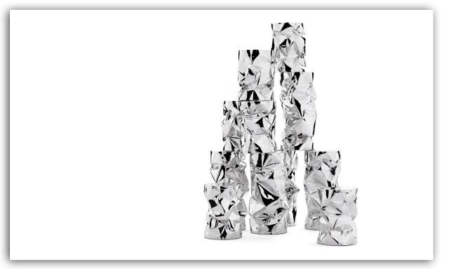 Sgabello in alluminio stropicciato a mano