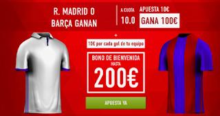 Sportium Triple bono bienvenida Supercuota 10 + 10 € gol Liga clasico Real Madrid vs Barcelona + Bono 200€ 23 abril codigo JRVM
