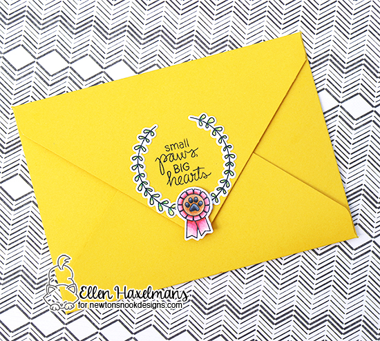 Custom Envelope Card by Ellen Haxelmans | Happy Little Thoughts and Terrific Terriers Stamp Sets by Newton's Nook Designs #newtonsnook