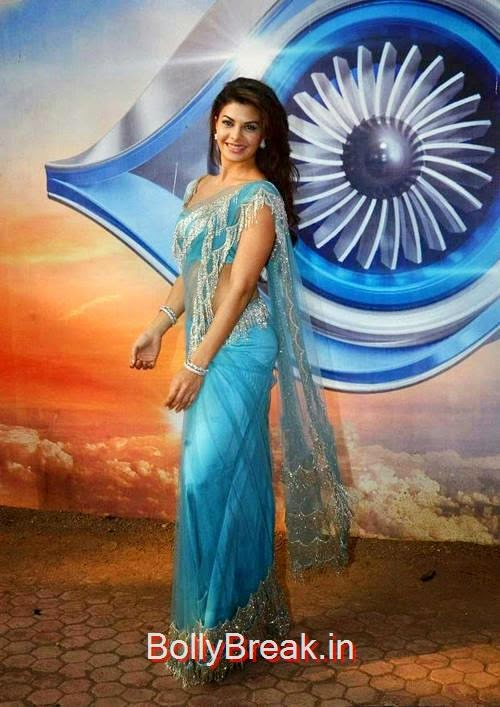 High Quality Jacqueline Fernandez Pics, Jacqueline Fernandez Hot Pics In Blue Saree from Roy Movie Promotions On Big Boss 8