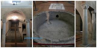 Colonne romane e vasca in cocciopesto arredano questo piccolo edificio