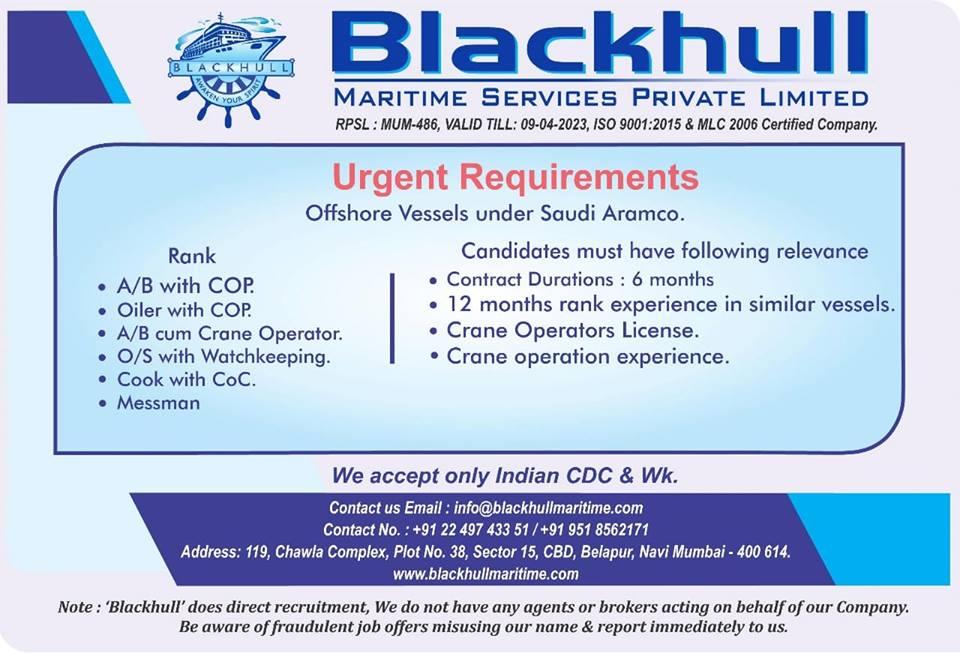 Urgent AB, Oiler, Crane Operator, O/S, Cook, Messman For